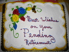 Cake for Ruth's retirement party.